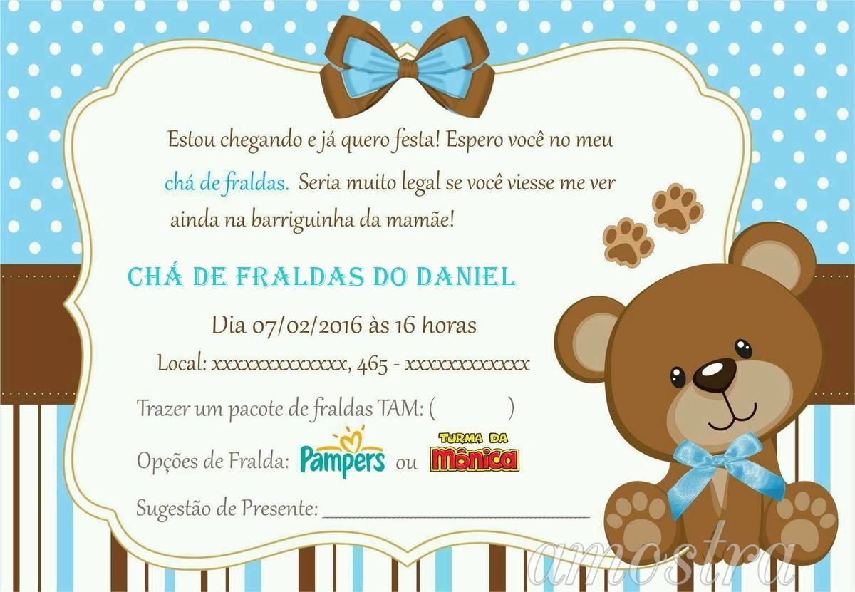 Convite Para Cha De Bebê Azulbb No Elo7 Acriativa Presentes 872969