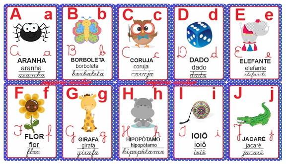 Alfabeto Ilustrado Varal Letra Cursiva No Elo7 Emporio Escolar