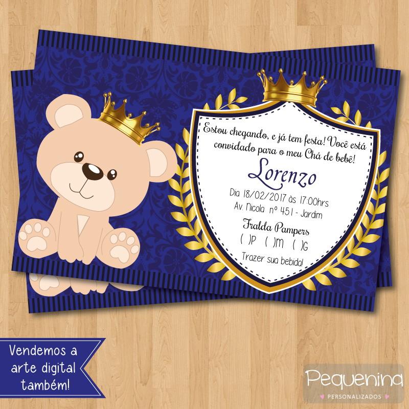 Convite Chá De Bebê Urso Coroa No Elo7 Ariele Personalizados