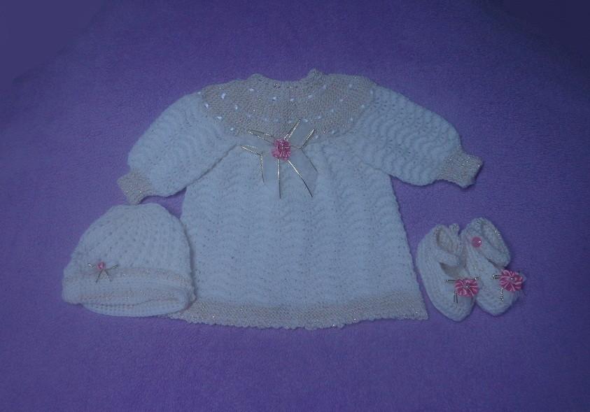 329930d07c Conjunto em tricô à mão M  para bebê no Elo7