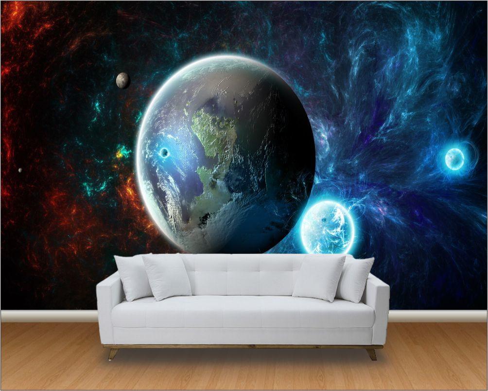 Papel De Parede 3d Paisagens Planetas Up Adesivos 3d Elo7 ~ Papel De Parede Lavavel Para Quarto