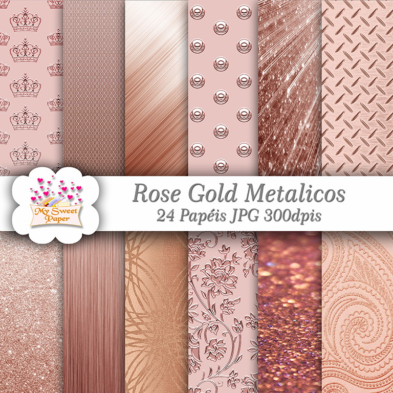 Kit Papel Digital Rose Gold No Elo7 My Sweet Papers 878a17
