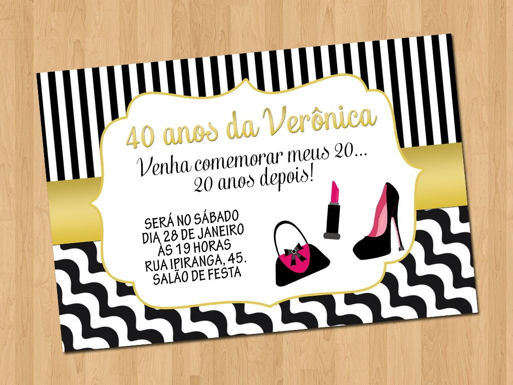 Convite Aniversário 40 Anos No Elo7 Ideal Convites 87be90