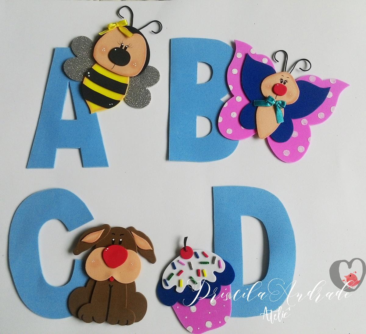 Alfabeto Ilustrado De A A Z Em Eva No Elo7 Priscila Andrade Ateli  -> Desenhos Para Alfabeto Ilustrado