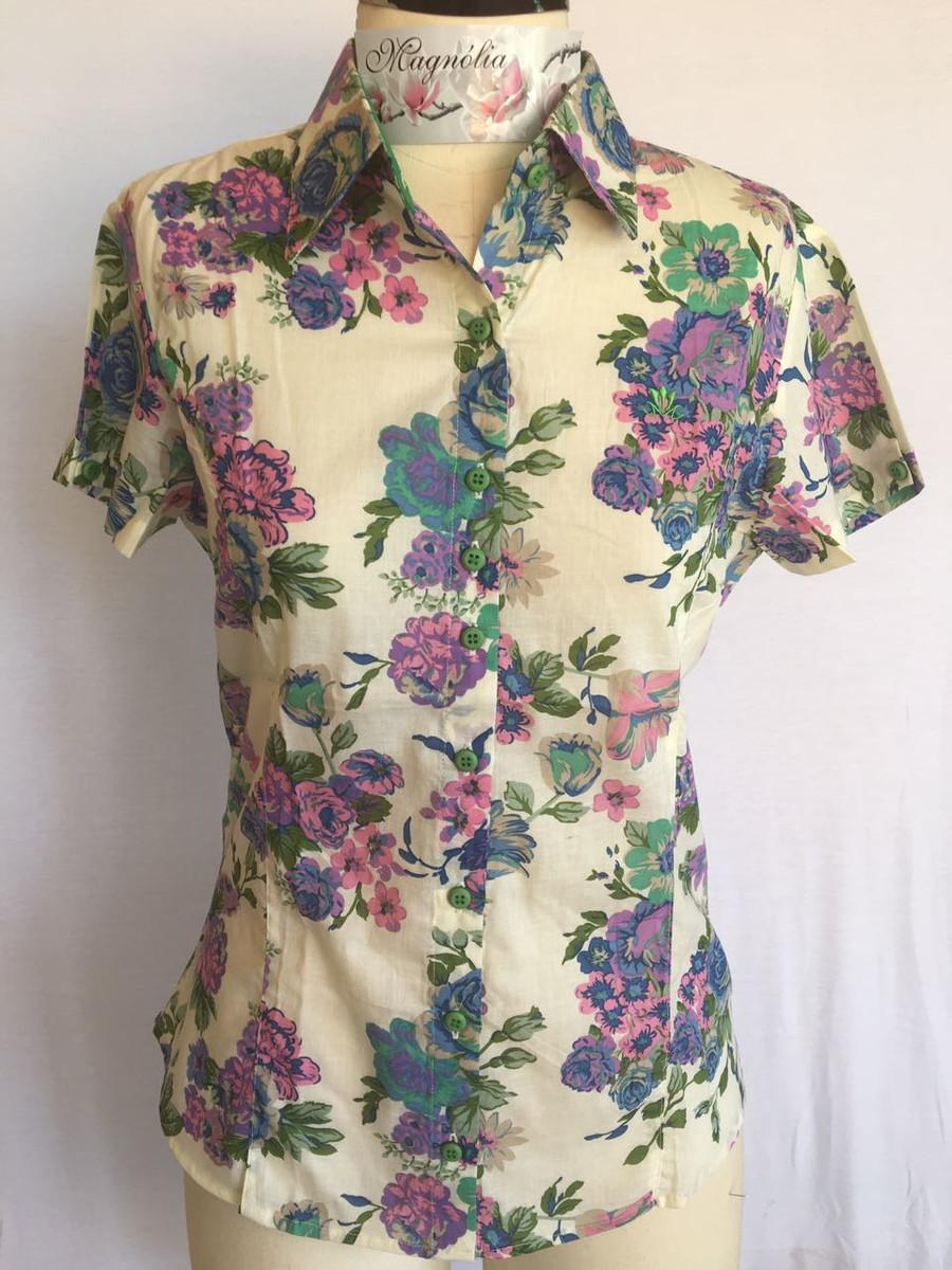 efd4916cc Camisa Feminina Manga Curta Estampada 38 no Elo7 | Camisas Magnólia ...