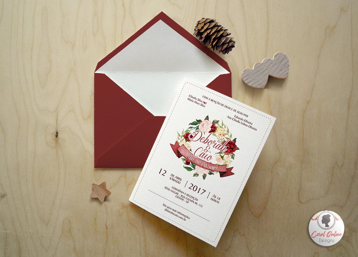 Muitas vezes Convite Marsala Casamento | ARTE DIGITAL | Carol Online Designs | Elo7 GY75