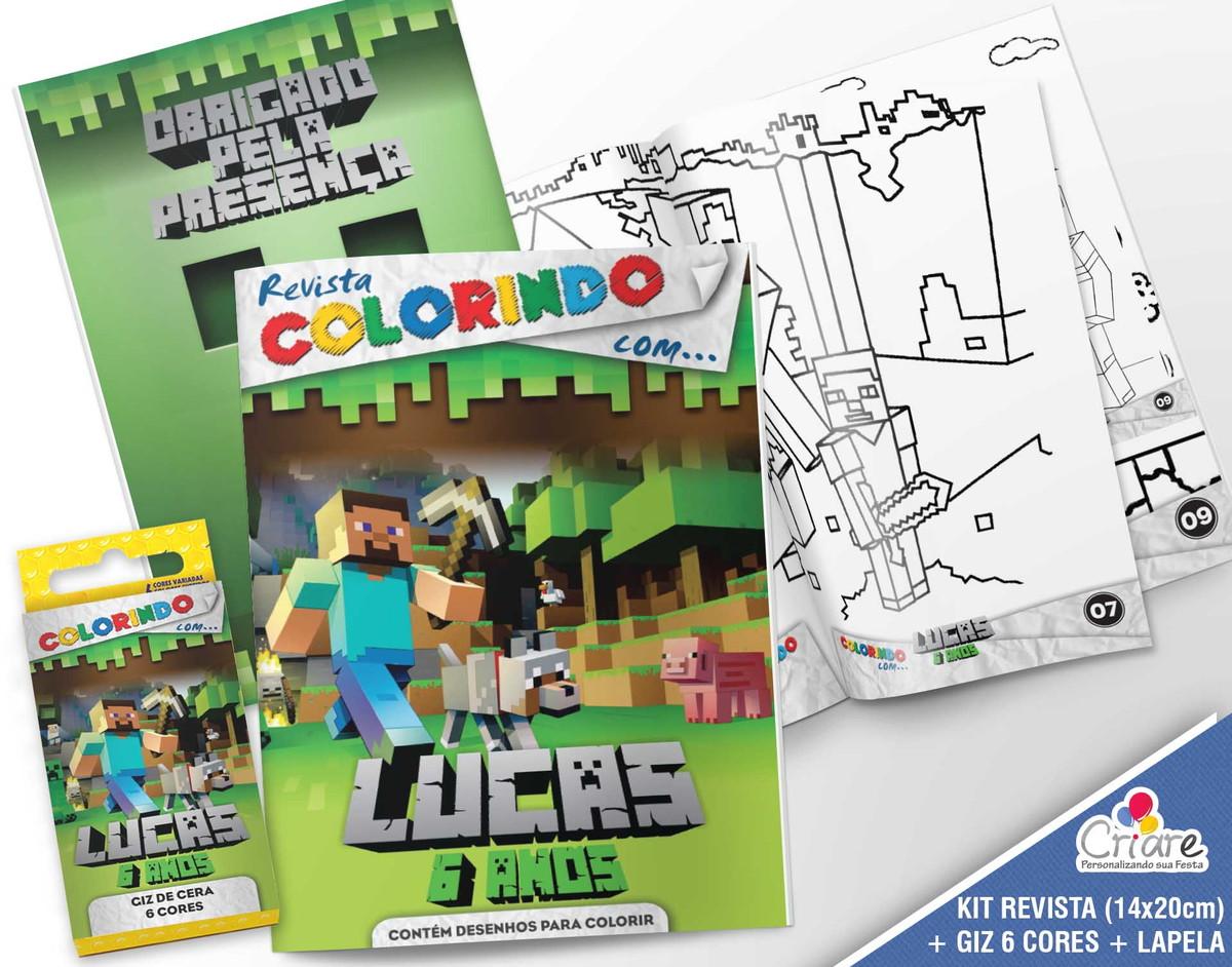 Letras Minegraft Fazendo A Nossa Festa: Kit Revista + Giz + Lapela - Minecraft No Elo7