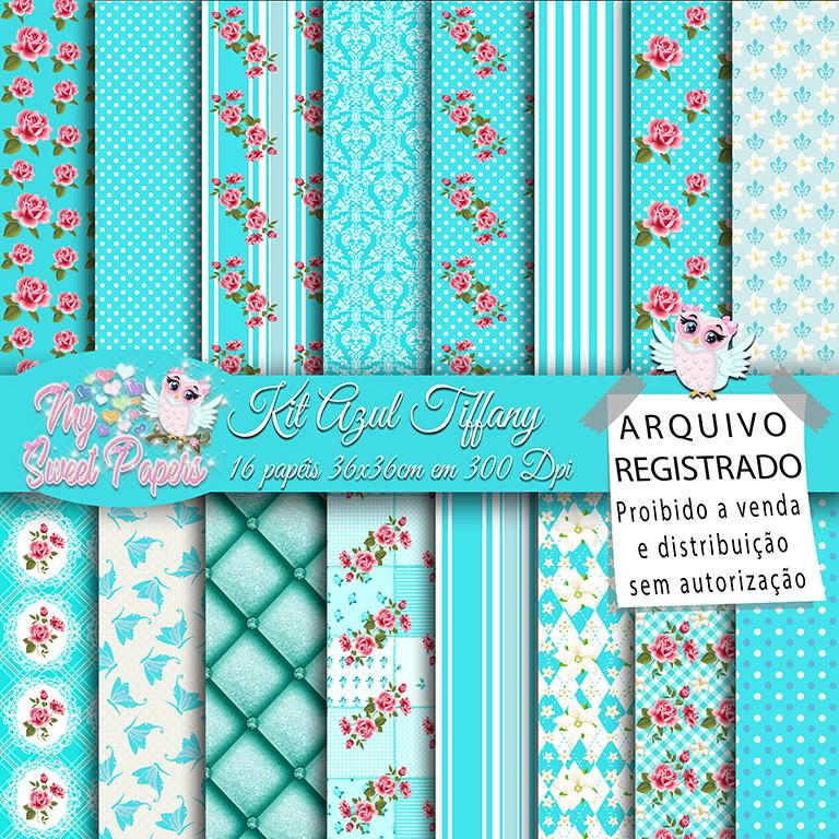 Kit Papel Digital Azul Tiffany No Elo7 My Sweet Papers 88b000
