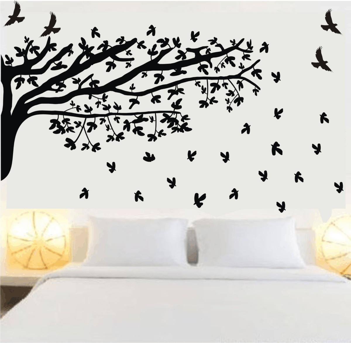 53afb0475 Adesivo de parede para quarto de casal árvore folhas caindo no Elo7 ...