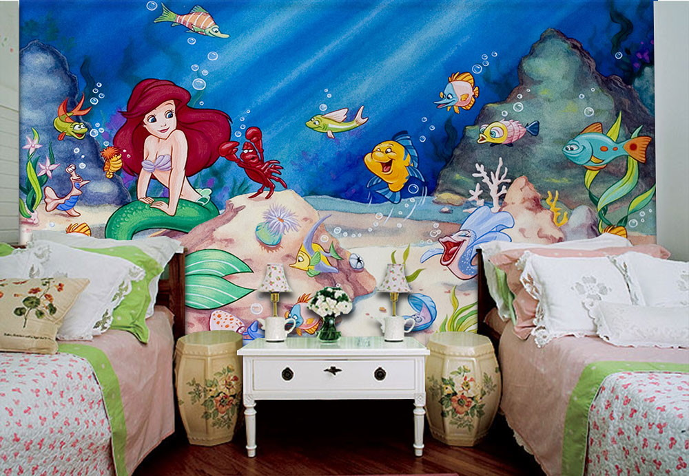 Papel de parede 3d infantil ariel paredes decoradas elo7 for Papel vinilico infantil