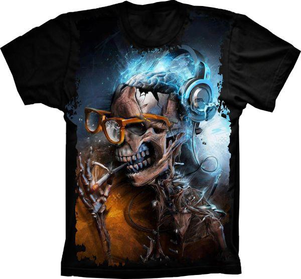 Camiseta Caveira Nerd no Elo7  7652b808280ce