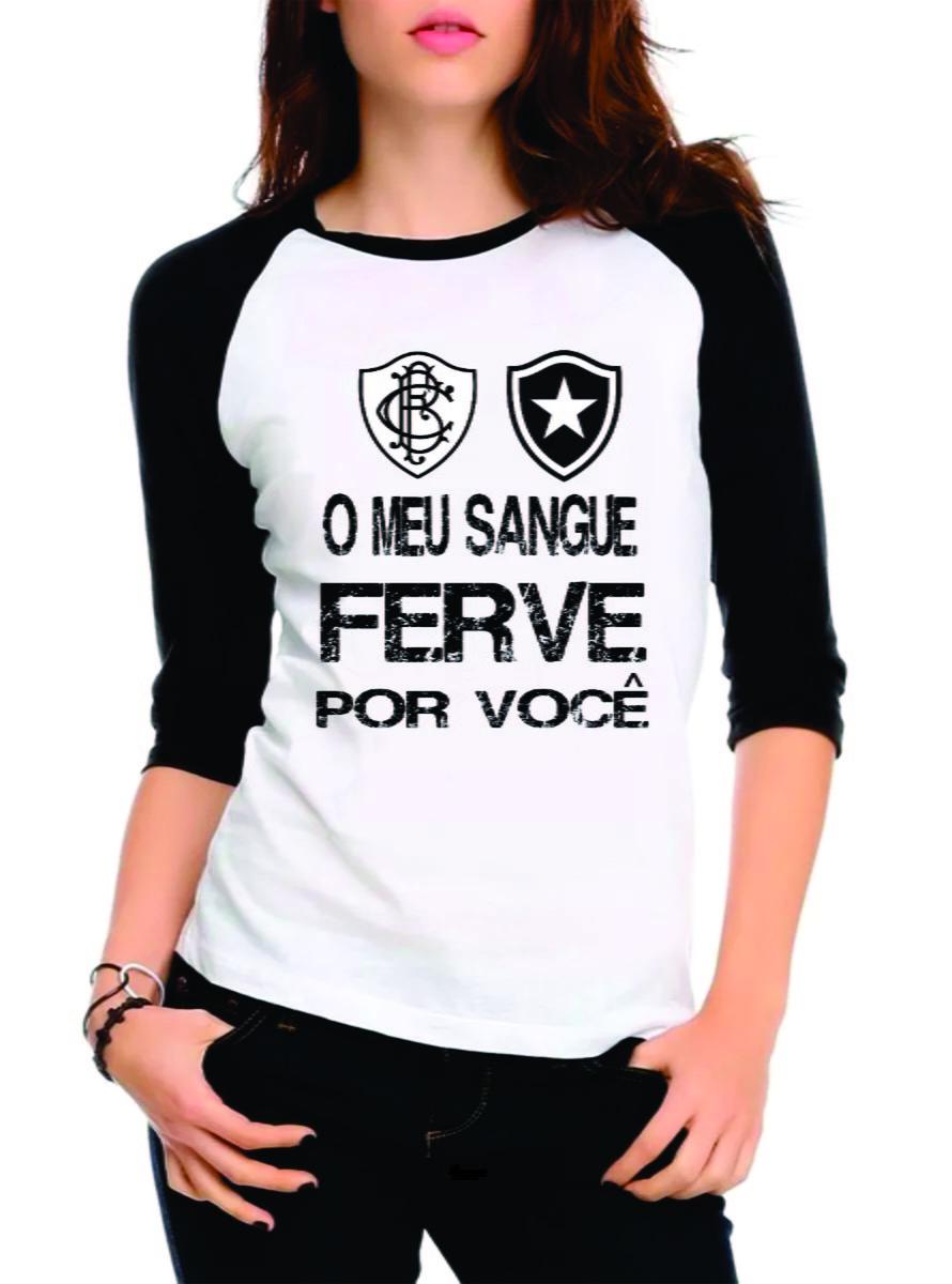 e781a12bda Camiseta Botafogo Raglan Manga 3 4 Femin no Elo7