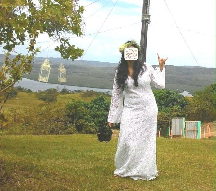 Vestido noiva renda guipir boho manga flare