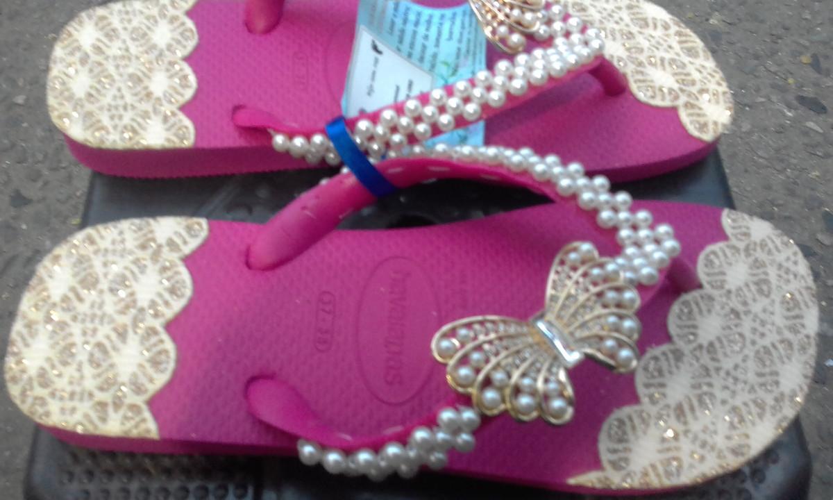 410c07e46 Chinelo havaianas luxo borboleta no Elo7 | Ateliê Impecável ...