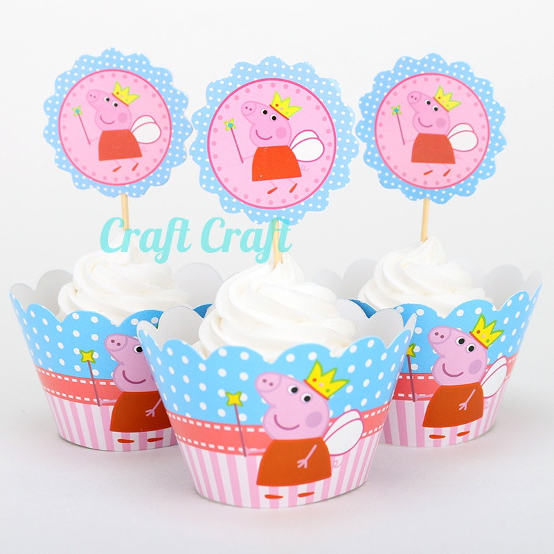 cupcake liner pig craft saia de cupcake topper da peppa fada no elo7 craft 4198