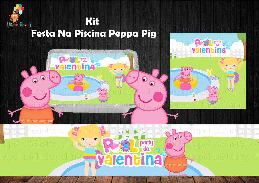 Kit festa piscina peppa pig 5 r tulos no elo7 bicho for Piscina de peppa pig