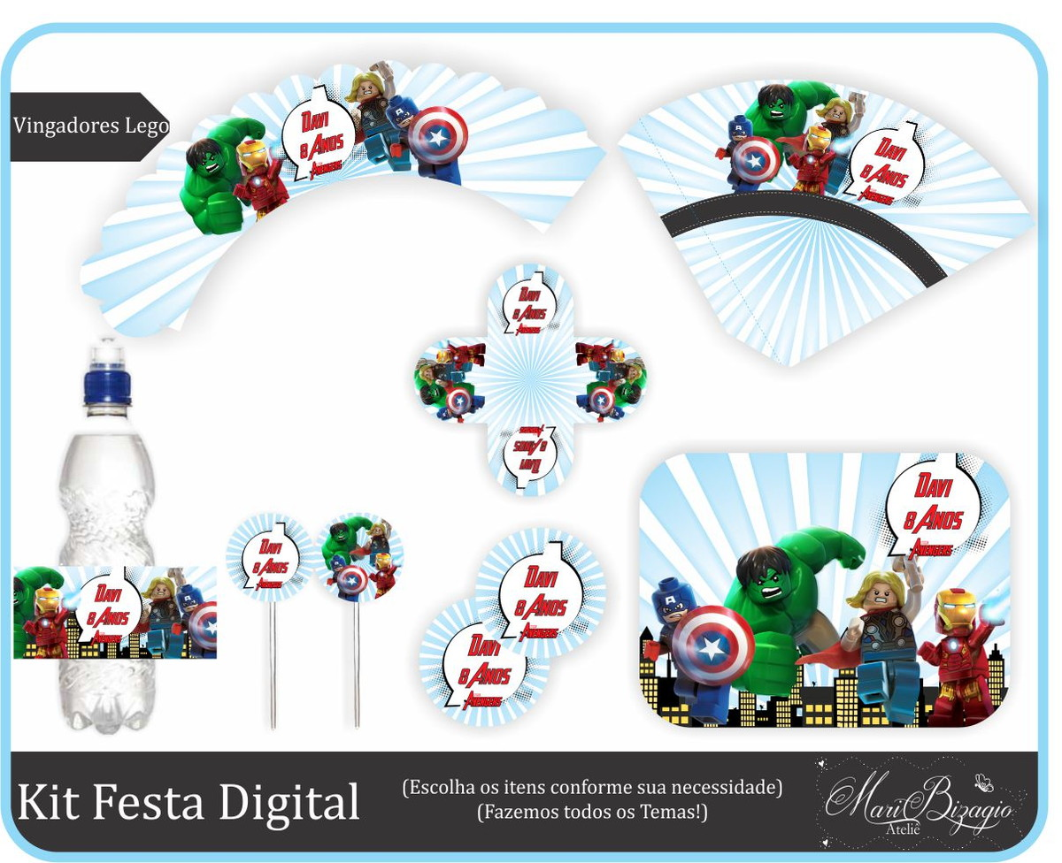 Festa Vingadores Lego - Para Imprimir no Elo7   Mari Bizagio Ateliê ...