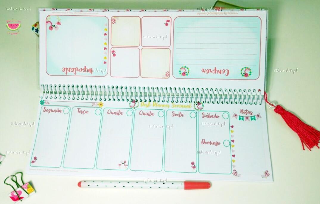 Desk Planner Semanal Teclado Flamingo No Elo7 Melancia