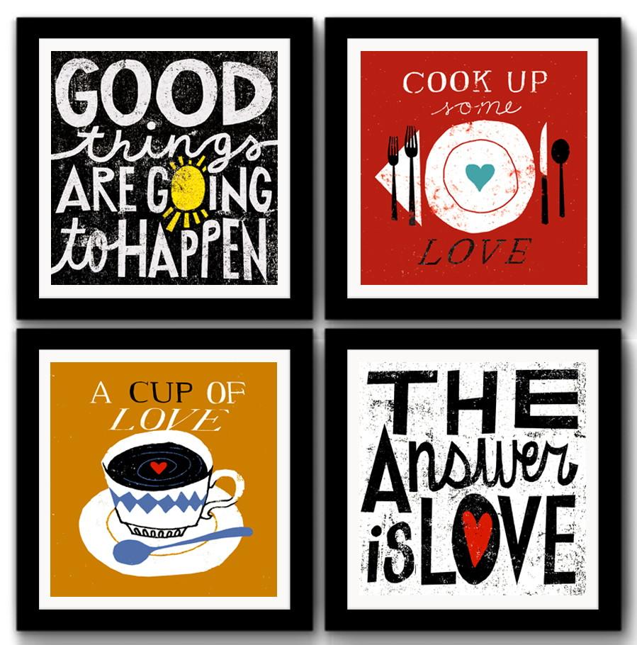 Kit 4 Quadros Cozinha Gourmet Frase Caf Decora O No Elo7 Red