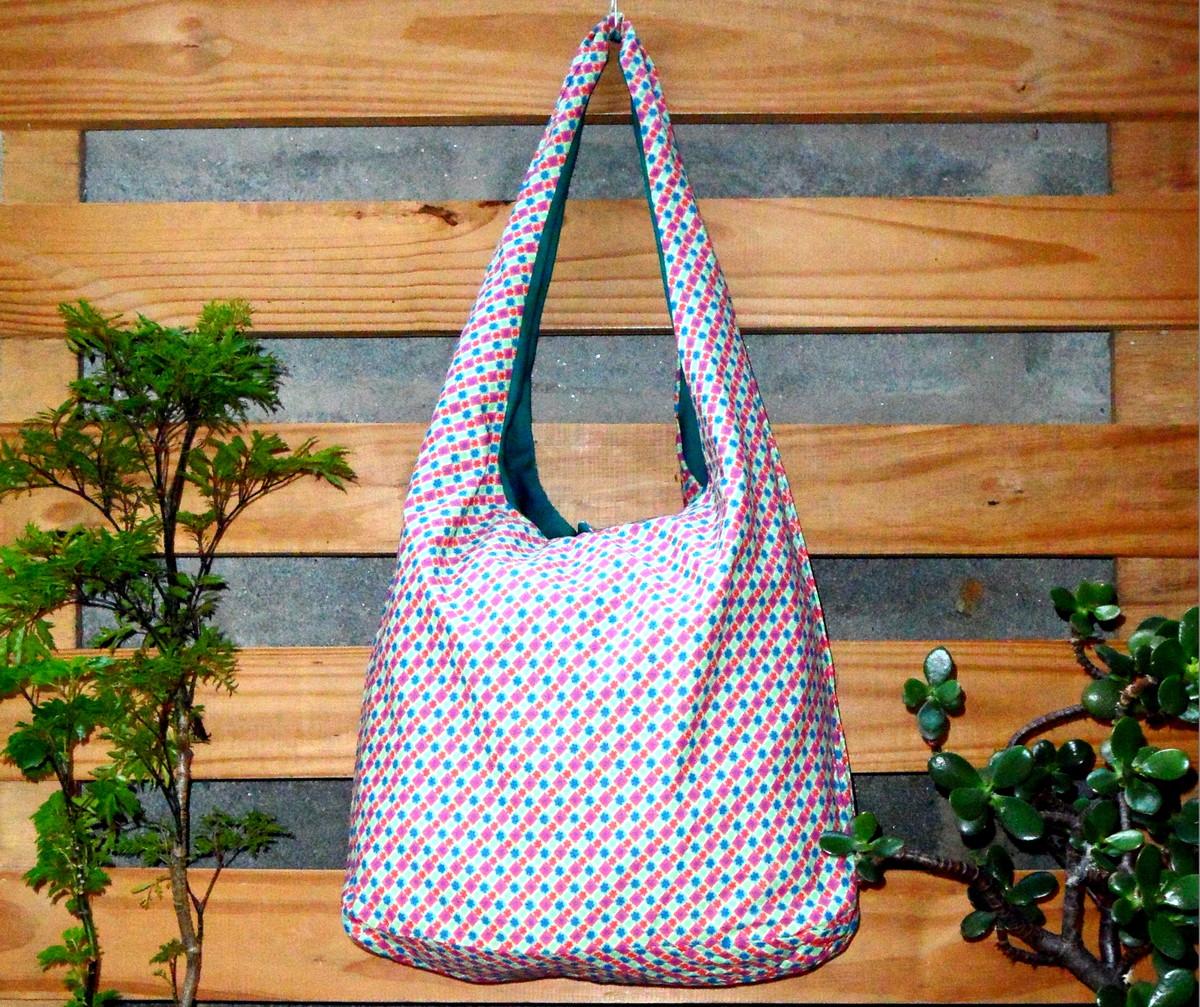 Bolsa De Tecido Forrada : Bolsa saco em tecido dupla face florida tropic?lia moda