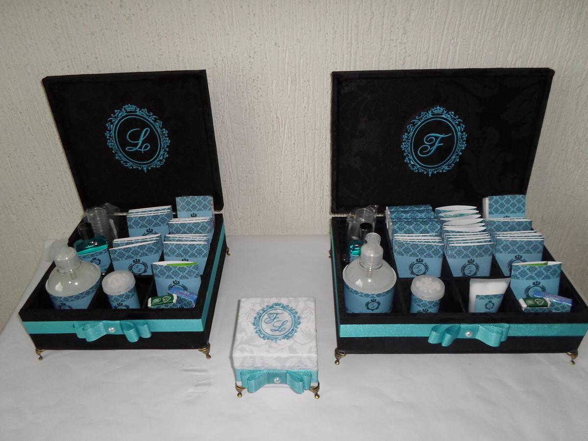 Kit Banheiro Tifany : Kit toillete preto e azul tiffany caixas coisas elo