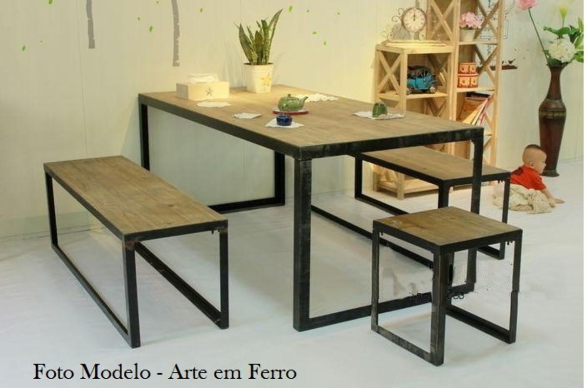 Mesa e bancos combinada de tr s no elo7 arte em ferro - Como hacer un altillo de madera ...