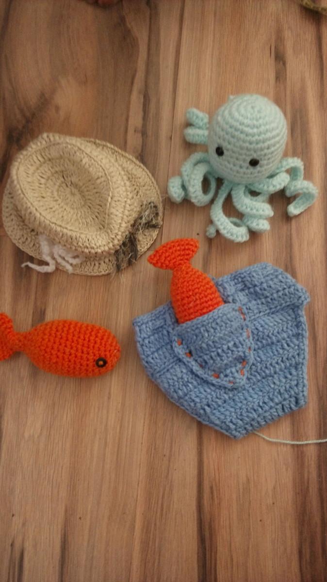Pescador newborn de crochê no Elo7  6912e186191