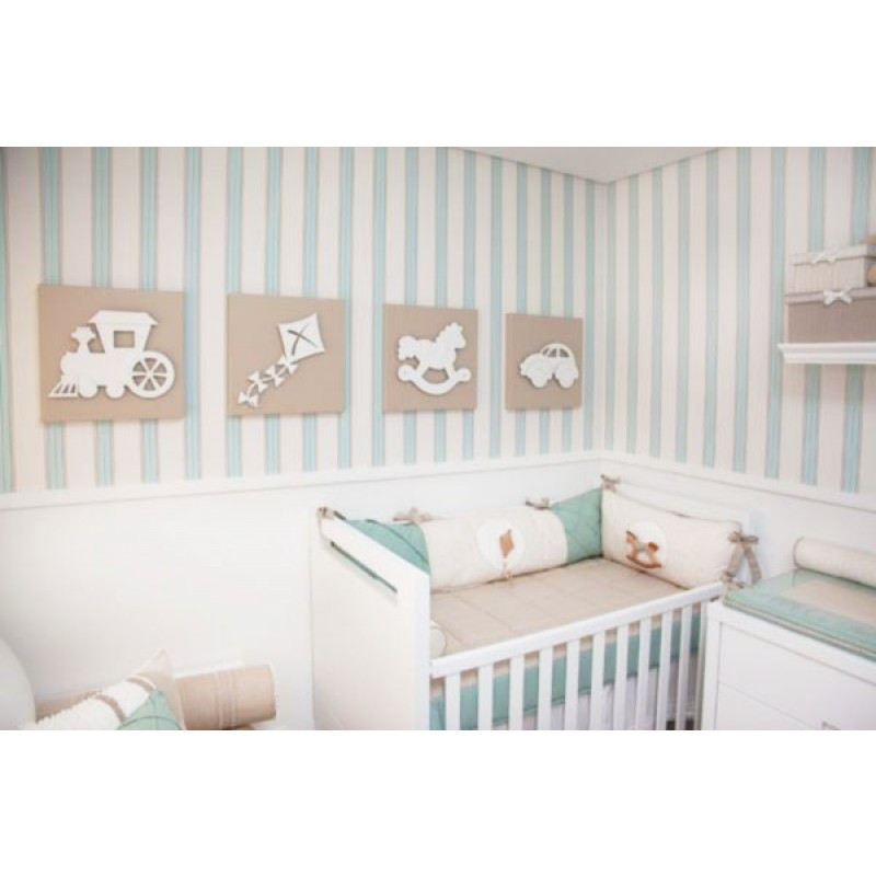 Papel de parede quarto bebe menino sete saba elo7 for Papel vinilico infantil