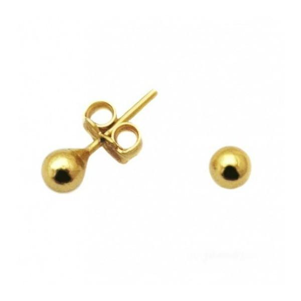 Brinco bolinha 3 mm banhado a ouro 18k no Elo7   Villa Ribeiro semi ... 01e4a50729