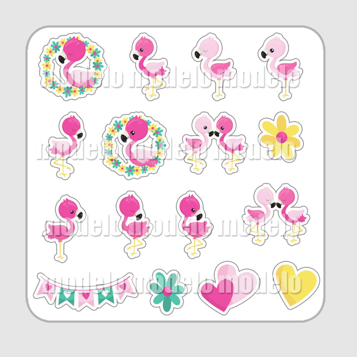 Adesivo Para Levantar Mama Funciona ~ Cartela de adesivos Flamingo cute no Elo7 Léa foto e arte (8F0ADA)