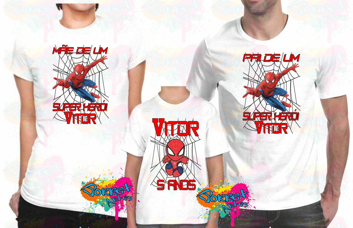 Camisa Personalizada Homem Aranha 3Pçs no Elo7  55773440b69d9