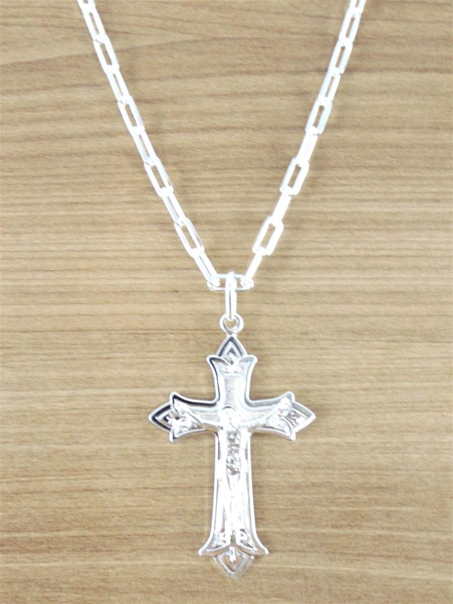 bb181a04d3 Corrente Masculina Cartier 60CM 4mm Crucifixo Banhada Prata no Elo7 ...
