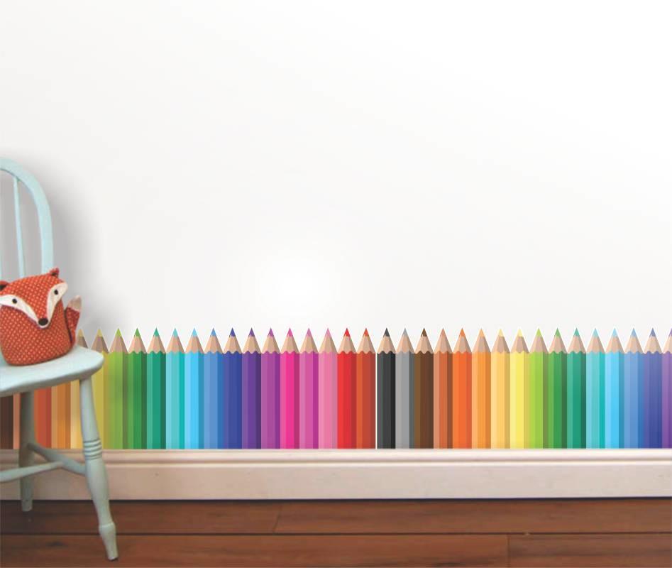 Adesivo de parede infantil lapis cor 2 artm decora o - Zocalos decorativos ...