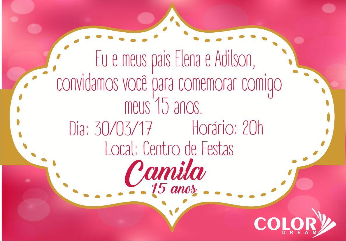 Convite 15 anos pink dourado color dream capin polis elo7 for Cubre sillas para 15 anos