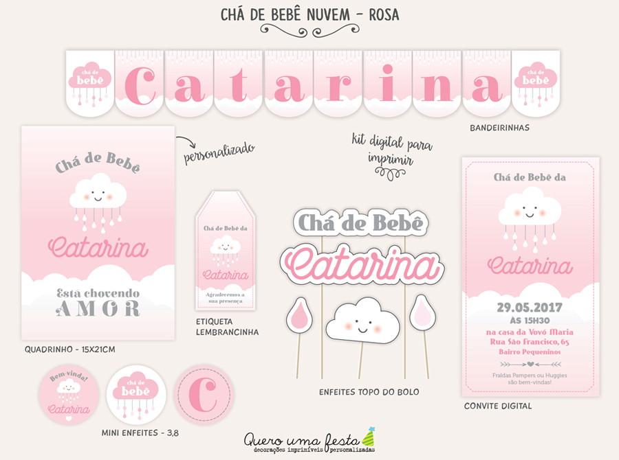 Kit Chá de Beb u00ea Nuvem Rosa digital no Elo7 Quero uma festa (8FF20F) -> Decoração Chá De Bebê Nuvem