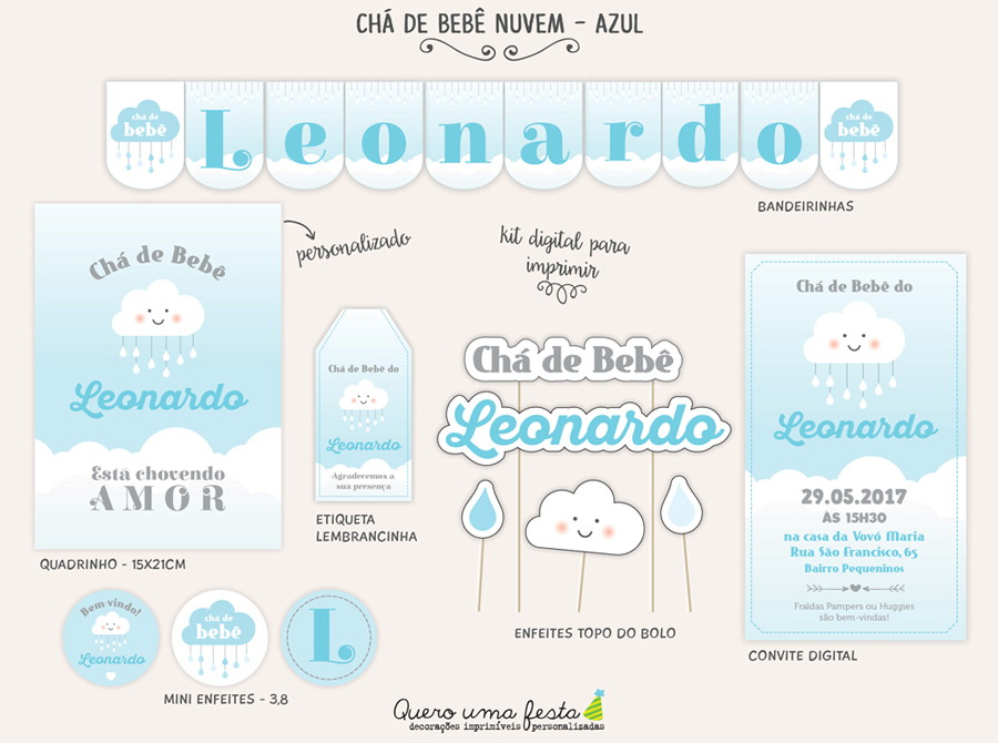 Chá De Bebê Nuvem Azul Kit Digital No Elo7 Quero Uma Festa 8ff1f2