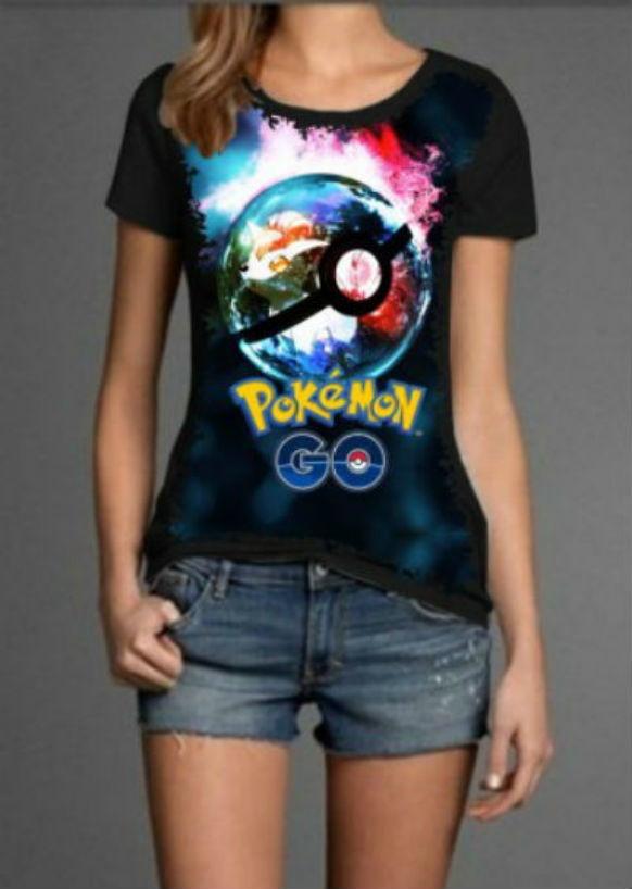 a26e6711e0 Camiseta Feminina Pokémon no Elo7