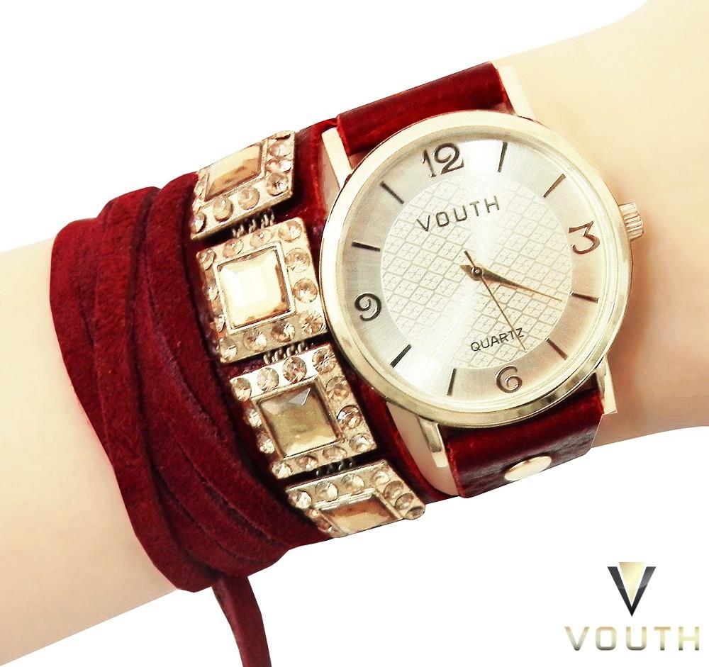 e7f58a43a9a Relógio Feminino Dourado e Vermelho no Elo7