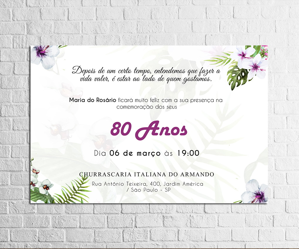 Mensagens De Aniversario 70 Anos: Convite De 80 Anos Com Flores Roxas No Elo7