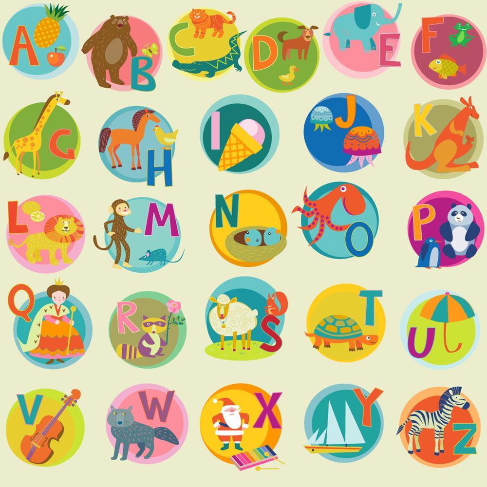 Muito Papel de Parede Adesivo Alfabeto Animais no Elo7 | Paper Factory  BA42