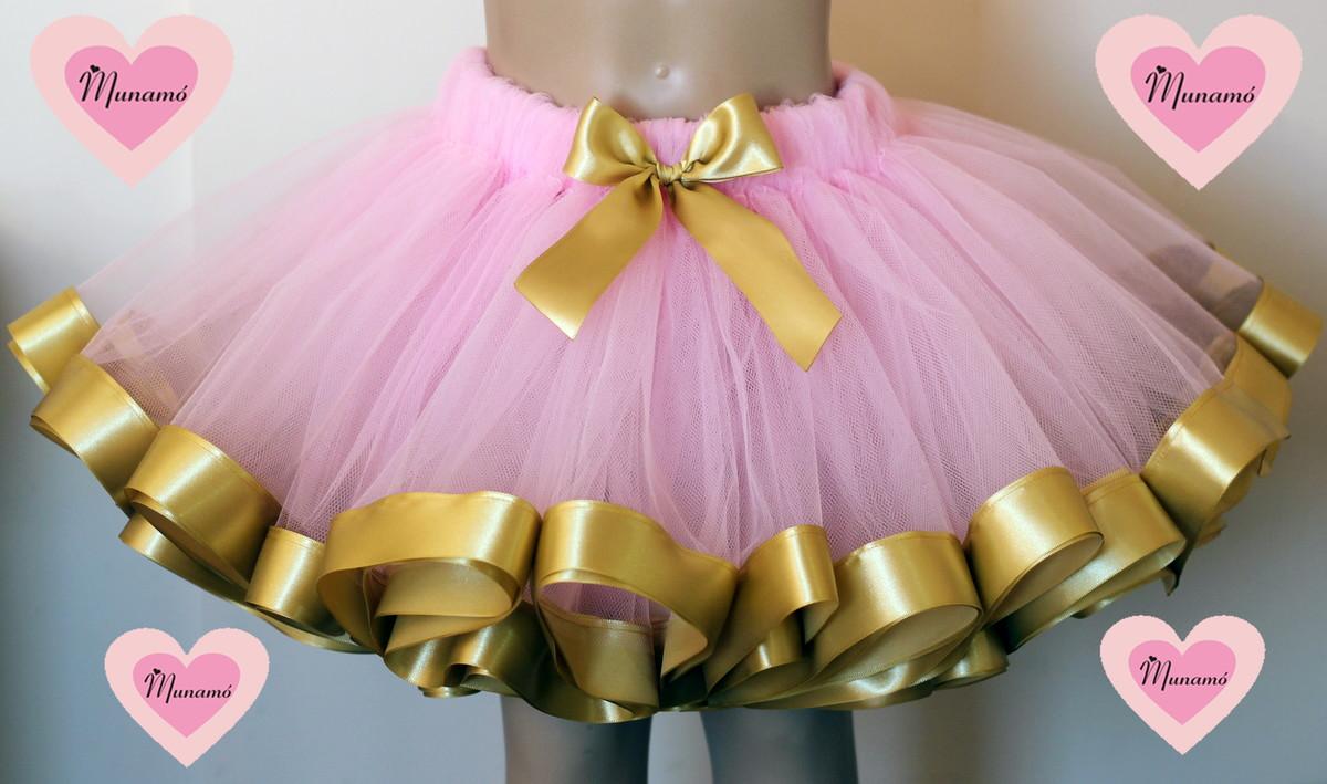 405bceea2d Tutu rosa bebê com fita dourada no Elo7