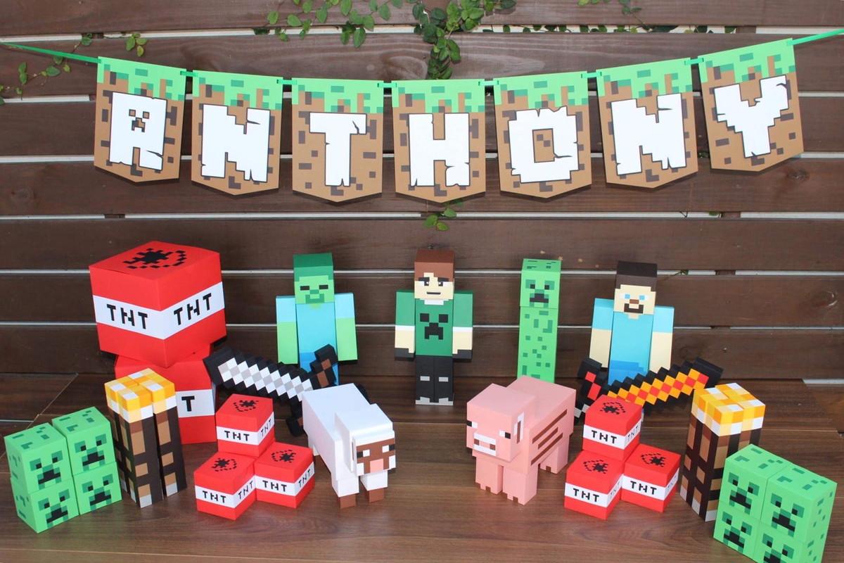 Festa Minecraft animais e bichos