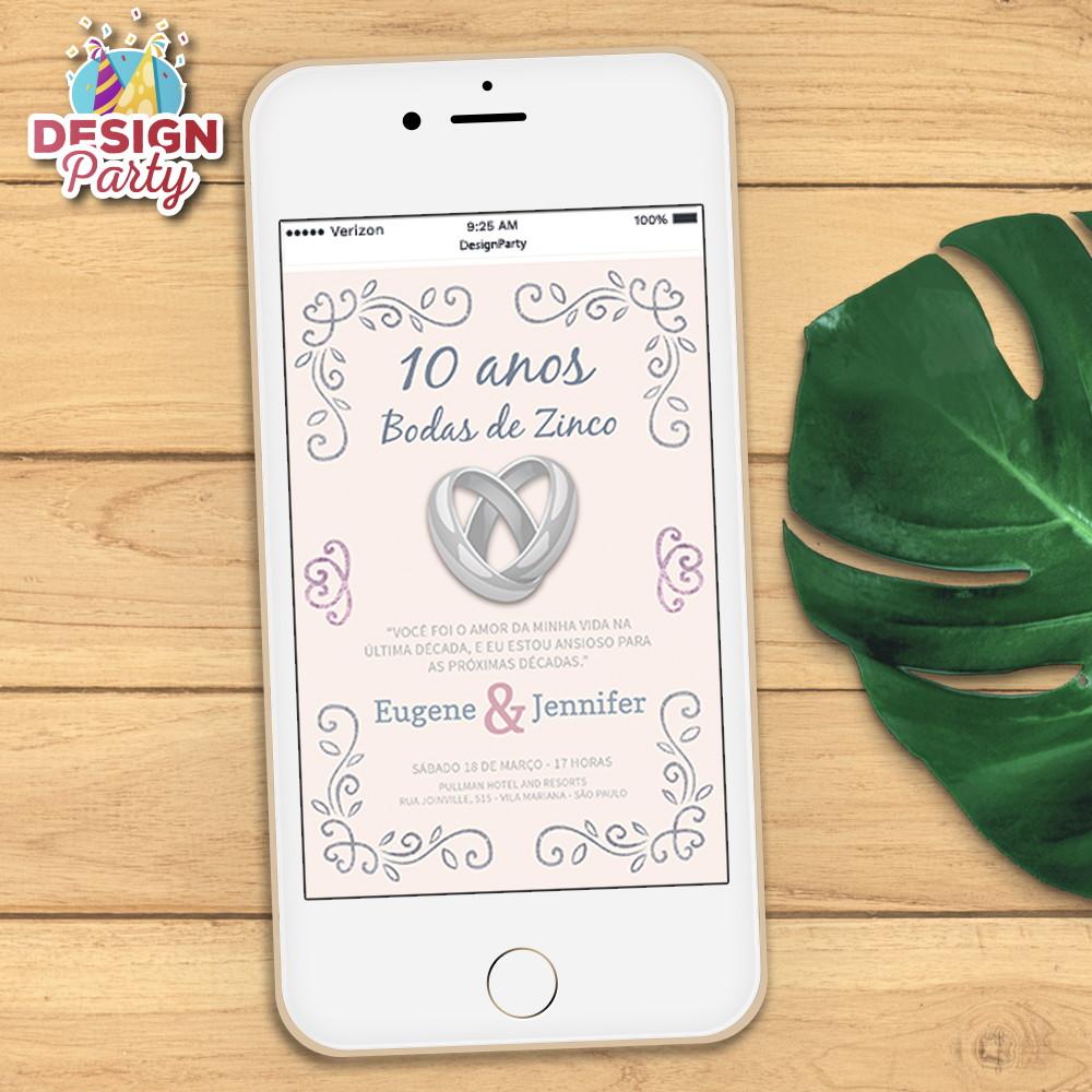 Convite Digital Bodas De Zinco 10 Anos No Elo7 Design Party 91f082