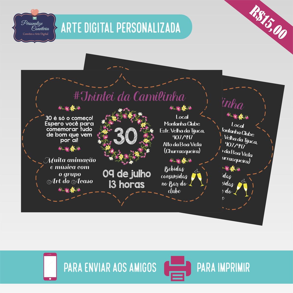 Convite Aniversário Adulto Arte Digital No Elo7 Personalize