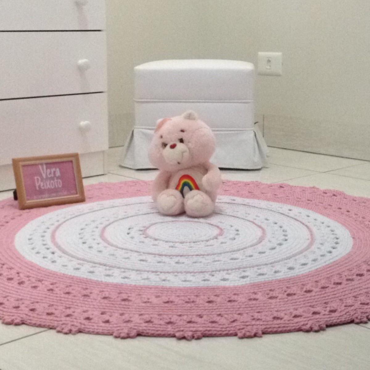 tapete de croch redondo branco e rosa beb nina no elo7 ateli vera peixoto 92505a. Black Bedroom Furniture Sets. Home Design Ideas