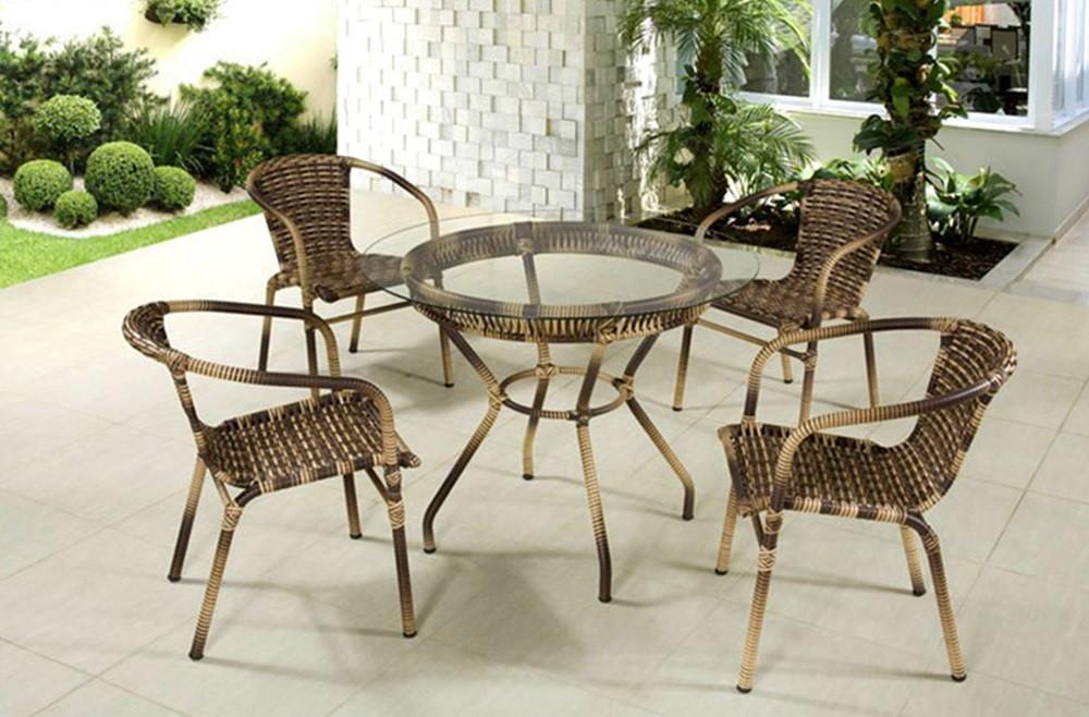 Mesa 4 cadeiras em fibra sint tica no elo7 vs fast shop for Conjunto rattan sintetico barato
