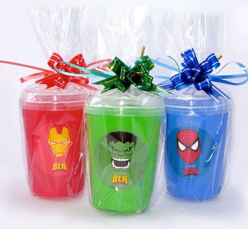 Copo com tampa bico super herois brindecida for Super copo