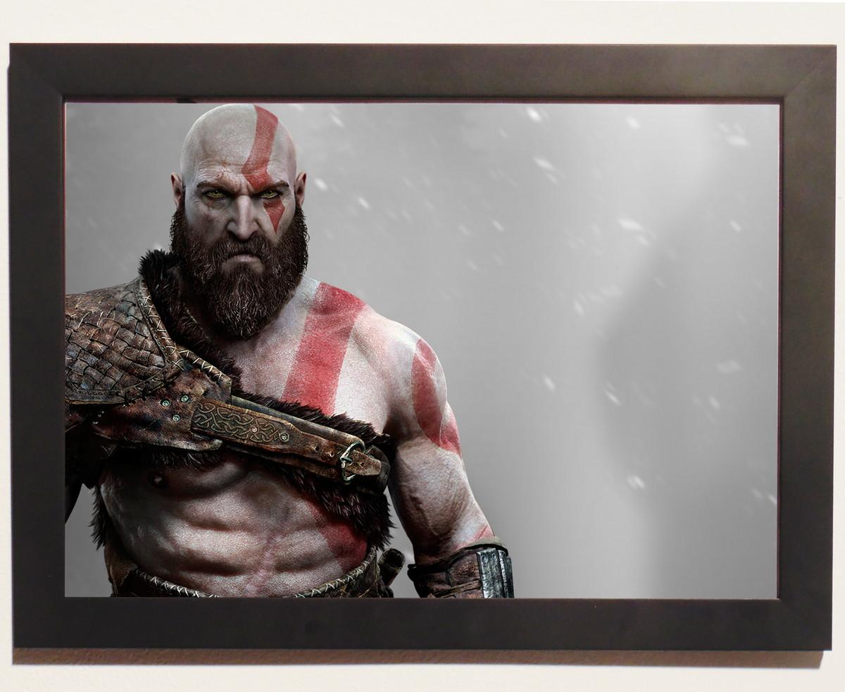 Pôster Com Moldura God Of War 4 Kratos No Elo7