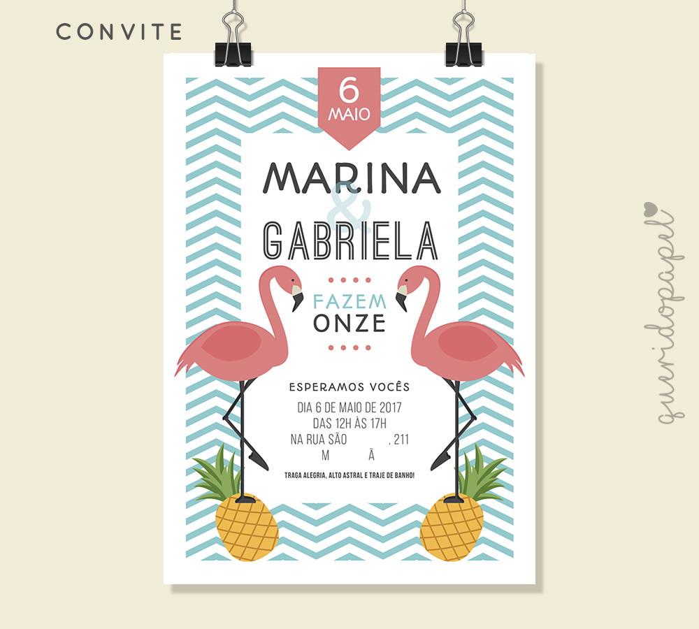 Convite Flamingo e Abacaxi | Digital | Querido Papel | Oficial | Elo7