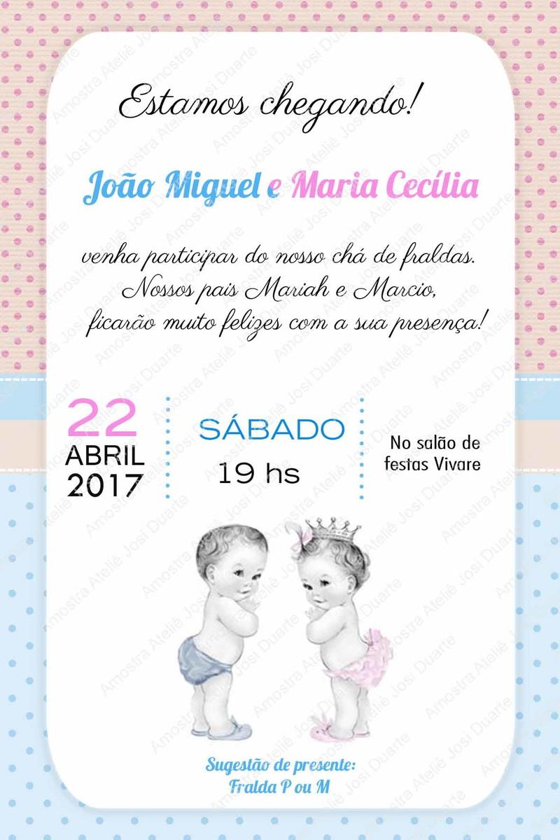 Convite Chá De Bebê Gêmeos No Elo7 Loja Criativa Presentes 92c495